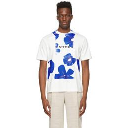 Botter Off-White and Blue Flower Classic T-Shirt 3013 J002 WHITE BLUE FLOWERS