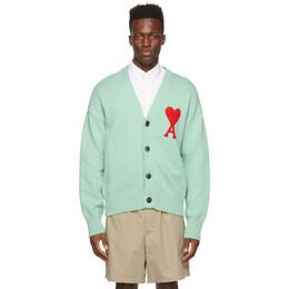 Ami Alexandre Mattiussi Green Ami de Coeur Cardigan E21HK303.016