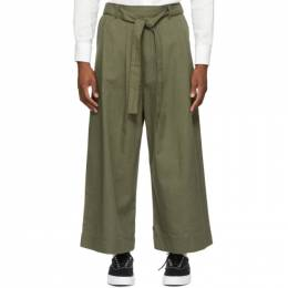 Naked And Famous Denim SSENSE Exclusive Green Oxford Wide Trousers SSE258548