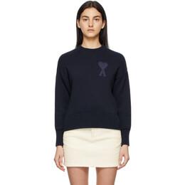 Ami Alexandre Mattiussi Navy Crewneck Ami De Coeur Sweater E21FK009.016