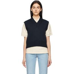 Ami Alexandre Mattiussi Navy Sleeveless V-Neck Sweater E21FK110.013