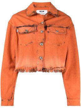 MSGM джинсовая куртка с эффектом потертости 3042MDE142LT217484