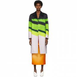 Dries Van Noten Green Len Lye Edition Stripes Coat 211-10232-2142