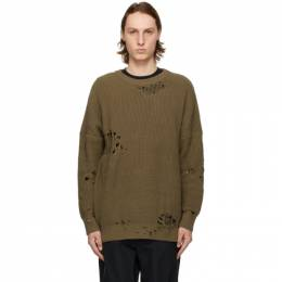 Neighborhood Khaki Oversized Ripped Sweater 211FUNH-KNM01