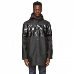 Stutterheim Black Tonal Stripe Stockholm Raincoat 2431