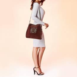 Loewe Burgundy Suede Crossbody Bag 403046