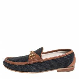 Gucci Blue/Brown Canvas And Leather 1955 Horsebit Slip On Loafers Size 43 404811