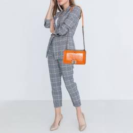 Chanel Orange Python and Leather Medium Boy Flap Bag 403166