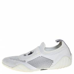 Dior White/Black Stretch Knit Fabric D-Fence Slip-On Sneakers Size 37.5 407231
