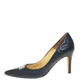 Versace Blue Quilted Leather Pointed Toe Pumps Size 40 407221