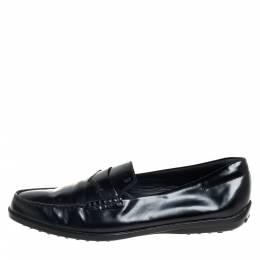 Tod's Black Leather Penny Slip On Loafers Size 38.5 407022