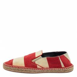 Burberry Two Tone Striped Canvas Hodgeson Espadrille Loafers Size 42 405065