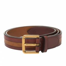Dunhill Burgundy/Brown Stripe Leather Classic Belt 97CM 406683