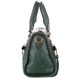 Miu Miu Green Vitello Shine Leather Bauletto Satchel Bag 391080