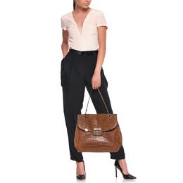 DKNY Brown Croc Embossed and Leather Turnlock Flap Top Handle Bag 407134