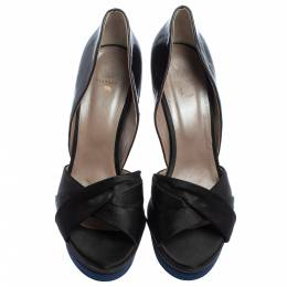 Versace Black/Dark Blue Satin And Patent Leather Criss Cross Platform Pumps Size 40 406172