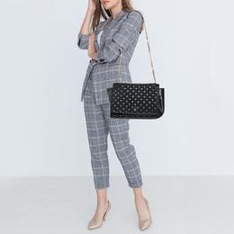 Carolina Herrera Black Quilted Leather Flap Chain Shoulder Bag 407566