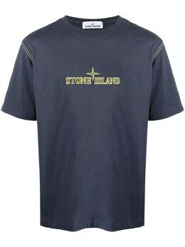 Stone Island футболка с вышитым логотипом 741520644
