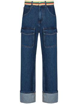 Wales Bonner прямые джинсы Brixton с поясом в технике кроше MS21DE02DEN401D500