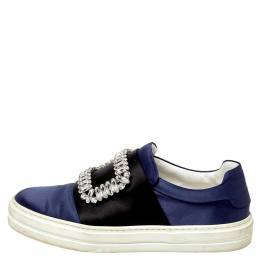 Roger Vivier Navy Blue/Black Satin Sneaky Viv Embellished Slip On Sneakers Size 35 407773