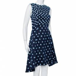 Oscar De La Renta Navy Blue Silk Floral Applique Detail Sleeveless Hi-Low Dress L 407752