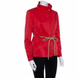 CH Carolina Herrera Vintage Red Cotton Zipper Front Waist Tie Detail Jacket M 408157