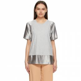Mm6 Maison Margiela Grey and Taupe Satin Sleeve T-Shirt S52GC0182 S23588