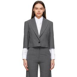 Mm6 Maison Margiela Grey Pinstripe Crop Blazer S62BN0036 S53243