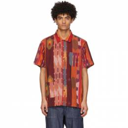 Engineered Garments Burgundy and Orange Camp Short Sleeve Shirt 21S1A004