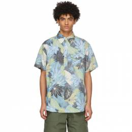 Engineered Garments Black and Blue Floral Popover Short Sleeve Shirt 21S1A003