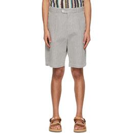 Engineered Garments Navy and White Seersucker Stripe Sunset Shorts 21S1E001