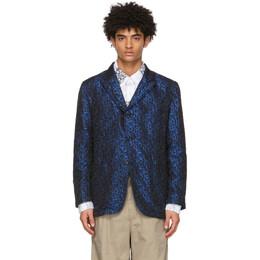 Engineered Garments Black and Blue Jacquard Shiny NB Blazer 21S1D004