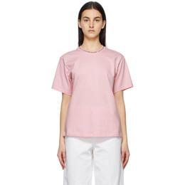 Victoria, Victoria Beckham Pink Logo Rib T-Shirt 2221JTS002471A