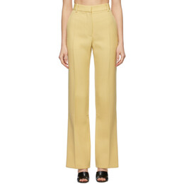 Victoria Beckham Yellow Wool Split Hem Trousers 1221WTR002664A