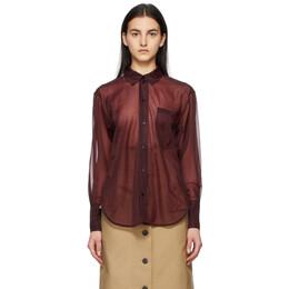 Victoria Beckham Burgundy Sheer Classic Shirt 1221WSH002657A