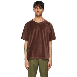 Needles Brown Velour Neck T-Shirt IN201