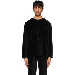 Needles Black Velour Embroidered Cardigan IN200