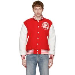 Billionaire Boys Club Red and White Astro Varsity Jacket B21102
