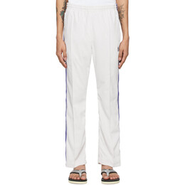 Needles White Velour Narrow Track Lounge Pants IN187