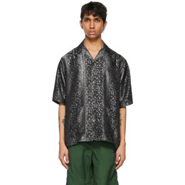 Needles Black Leopard Jacquard Cabana Short Sleeve Shirt IN081