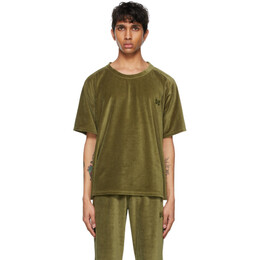Needles Khaki Velour Neck T-Shirt IN201