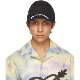 Palm Angels Black Classic Logo Brim Cap PMLB025S21FAB0011001