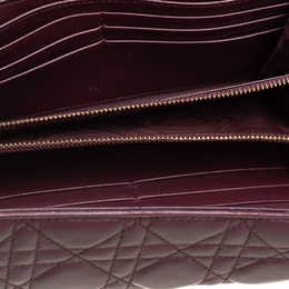 Dior Burgundy Cannage Leather Lady Dior Continental Wallet 408517