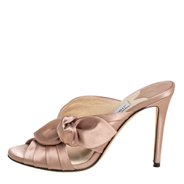 Jimmy Choo Nude Pink Satin Keely Knotted Slide Sandals Size 35 407904