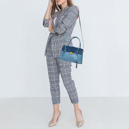 Miu Miu Blue Leather Madras Top Handle Bag 407772
