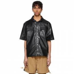 Rhude Black Leather Snap Shirt RHPS21SS00000011