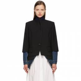 Sacai Black and Blue Denim Suiting Blazer 21-05516