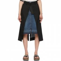 Sacai Black and Blue Denim Suiting Combo Skirt 21-05518