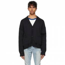 Rhude SSENSE Exclusive Black and White Hand Knit Cardigan RHPS21CA00000005