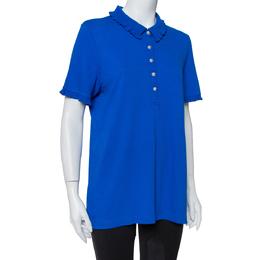 Tory Burch Royal Blue Cotton Pique Wave Rib Detail Polo T-Shirt XL 409003